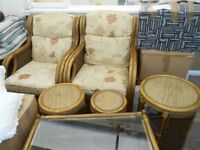 Conservatory furniture as new. Moving home no space. two chairs glass top table three side tables