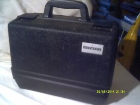 AN INTERESTING BLACK PLASTIC CASE , TOUGH CONSTRUCTION CENTRE OPENING ? MANY USES ? +++