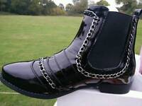 Size 3 brand new in box chain ankle boots