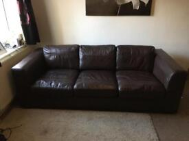 ** Perfect condition 3 seater brown leather sofa **MUST BE SOLD BY MONDAY(20th)