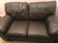 2X2 brown leather sofas