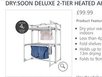 Two tier Drysoon Heated Airer.New and not used.Still in protected packaging.