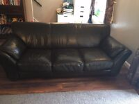 Brown Leather 3 Seater Large DFS Sofa