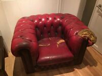 Red Chesterfield Armchair - Requires Refurbishment - Price Negotiable