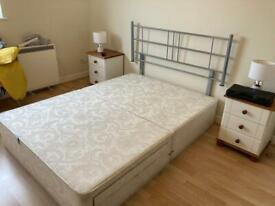 King size divan bed base with headboard and storage