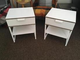 Two Ikea White Trysil Bedside Tables