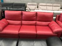 Red leather recliner 3 seater + Armchair