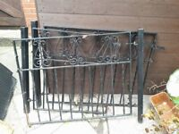 metal heavy duty drive and house gates with posts.