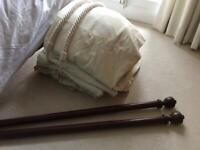 Curtains, tie backs and curtain poles