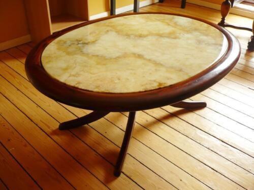 Couchtisch Tisch Oval Marmor Marmorplatte Holz Wohnzimmer