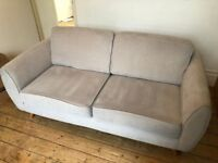 3 Seater Grey Fabric DFS Sofa - Less Than 2 Years Old
