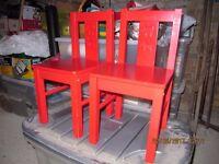 TWO RED KIDDIE CHAIRS(NURSERY)