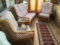 3 piece cane furniture, cushions are faded, but still comfortable
