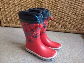 Clarks red welly boots with planes size 10