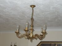 5 arm brass chandelier pendant light fitting and 2 wall lights.
