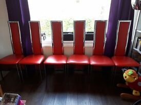 Red and crome dinning room chairs