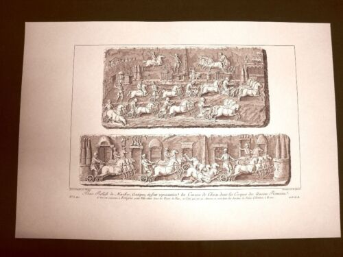 Bassorilievo in marmo Corsa dei carri circo romano Voyage Pittoresque Saint Non