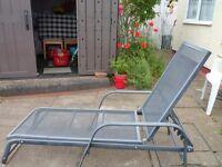 strong metal sun lounger, clean rainproof cushion