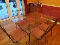 Wrought Iron & Glass Dining Table & Chairs