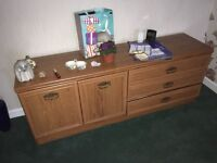Large living room storage unit with cupboard and three drawers