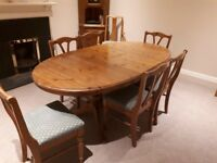 Extending dining table, 8 chairs, corner cabinet