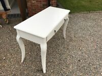 White painted dressing table with 2 drawers