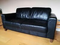 Black leather 2 seater sofa, two available
