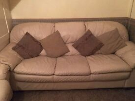 Sofa - White Leather (3 Piece Set) **URGENT SALE**