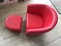 Child's red tub chair and footstool from Dunelm