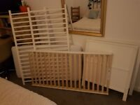 Excellent condition Kiddicare white Cot and Mattress for sale