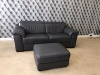 Natuzzi Editions Sanremo 3 Seater Grey Leather Sofa And Footstool
