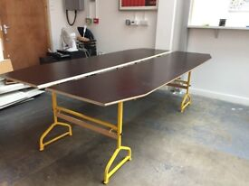 Office desks trestle table - thin brown with yellow metal legs - x5 available
