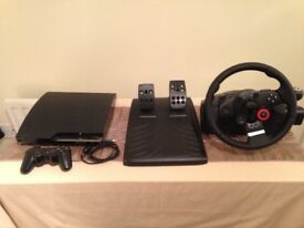PlayStation 3, GT Force steering wheel and 11 games!
