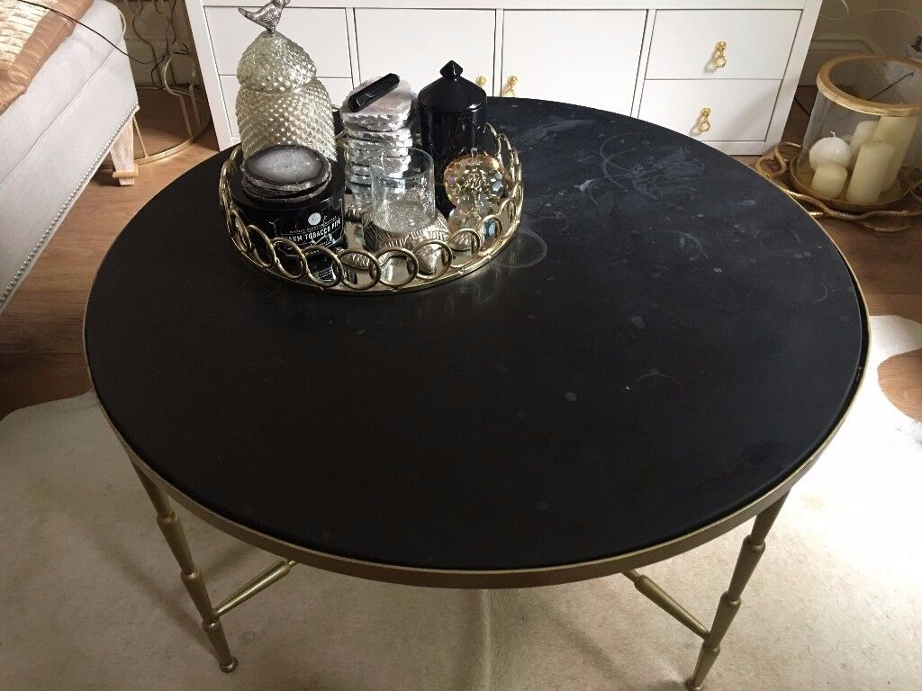 black marble wit golden frame coffee table