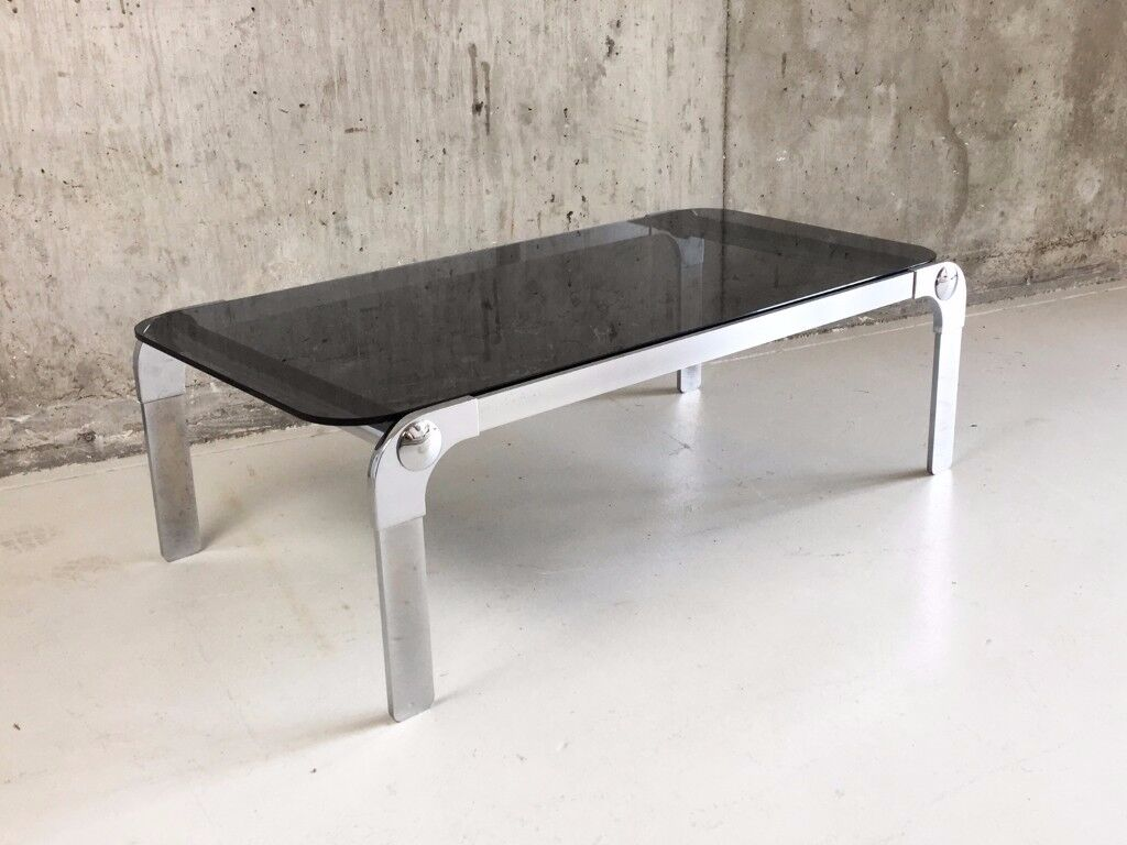 Glass coffee table in glasgow other dining living room 1970s mid century italian chrome and smoked glass geotapseo Gallery