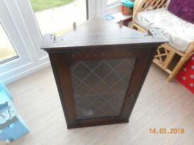 WOODEN CORNER UNIT WITH GLASS DOOR