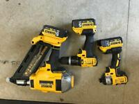 Dewalt 1st fix nail gun, impact driver, drill and 3 5Ah batteries
