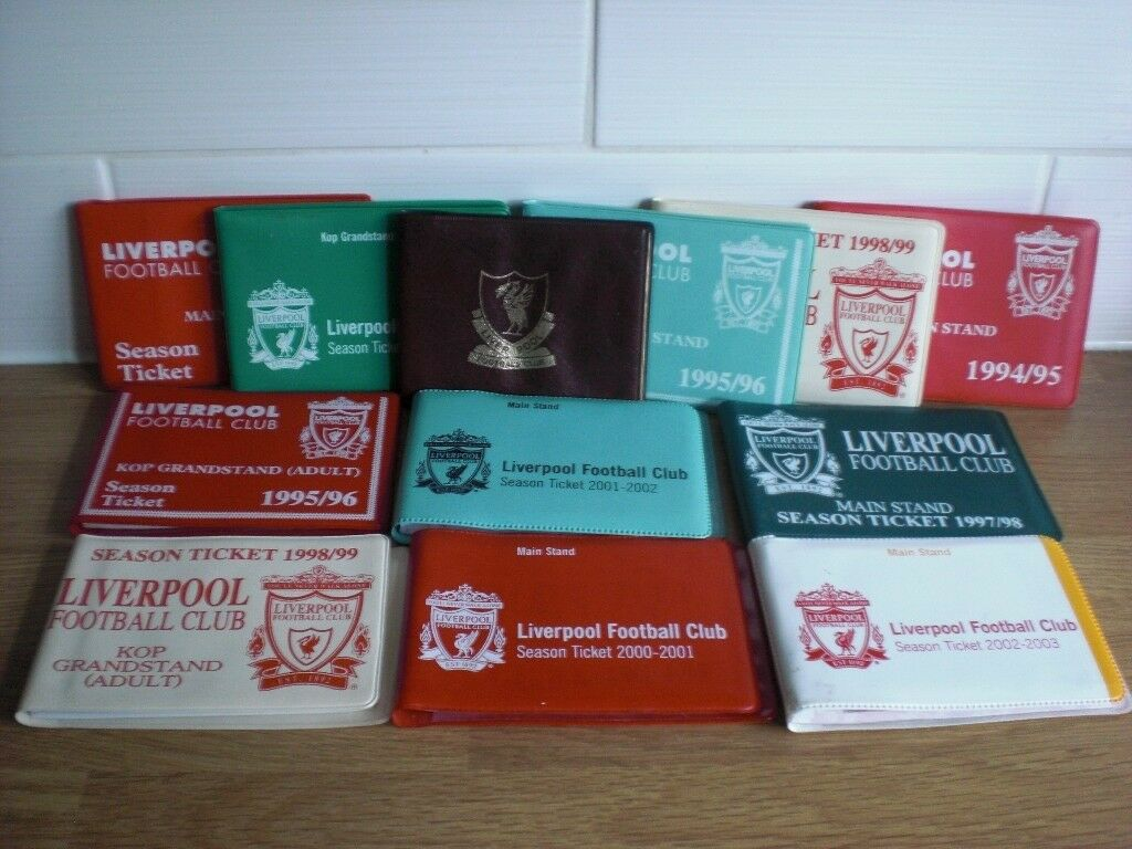 76c136ab0 TEN OLD LIVERPOOL F.C. SEASON TICKETS - RANGING FROM SEASON 1993 1994 TO  2002 2003 SEASON - ALL VGC