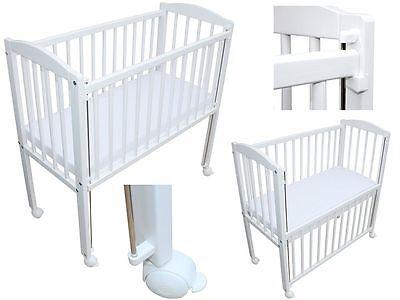 Beistellbett / Kinderbett 90x40 cm mit Matratze und Rädern 3 Stuffen weiss