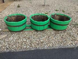 3 Oak Half Barrels.