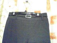 John Lewis Girls Senior Belted Trousers with Zip. Dark Grey. Size 11yrs