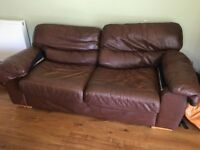 Brown Leather M&S sofa FREE
