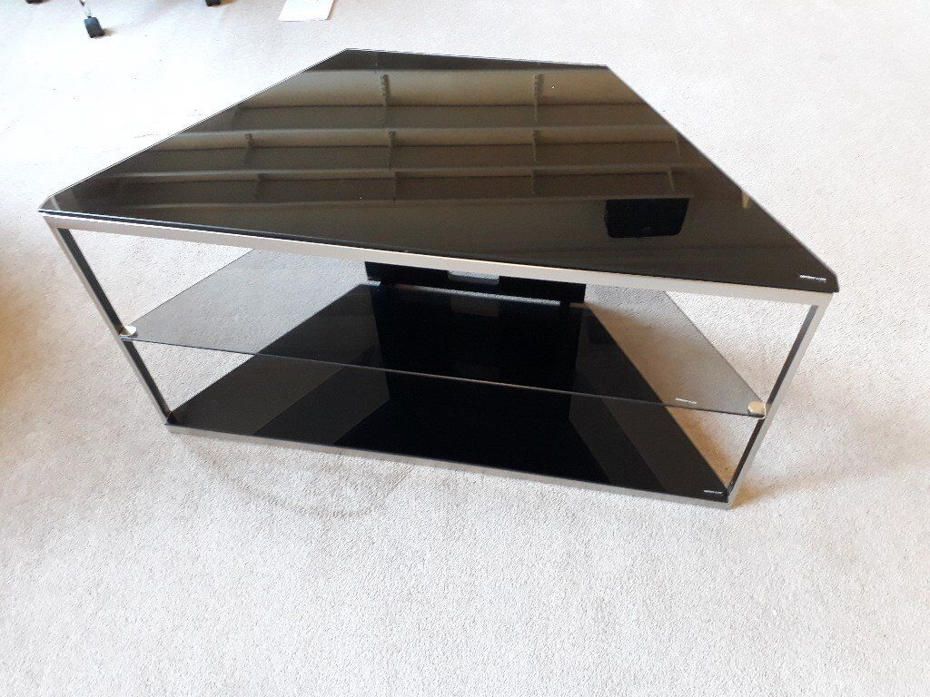 616efe55aba Black glass and chrome corner tv stand with middle shelf