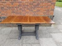 Vintage/Antique draw leaf oak dining table. Rustic shabby chic/distressed charcoal. LOCAL DELIVERY