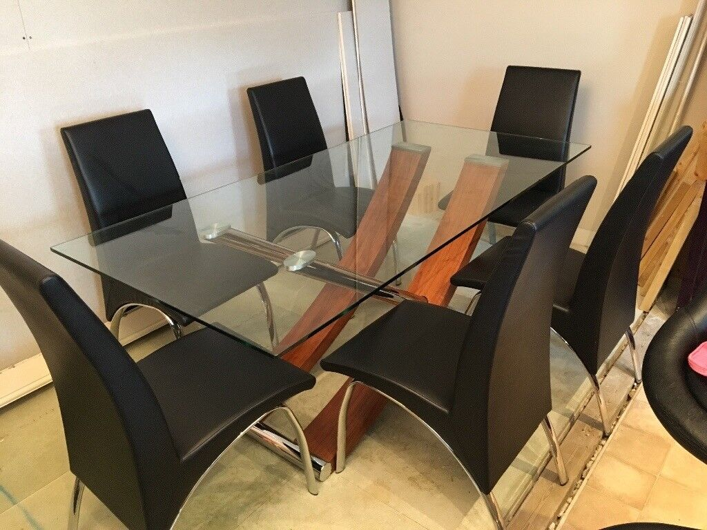 6 Seater Gl Dining Table With Chairs
