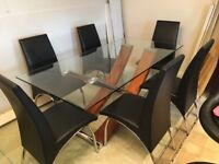 6 seater glass dining table with chairs