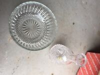 Tyrone crystal fruit bowl and decanter vase