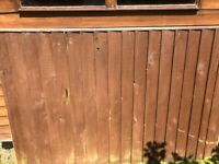 5 used wooden fence panels - strong and sturdy