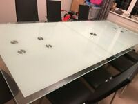 Dining Glass extendable table with 8 chairs