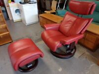 Ekornes Stressless Magic Recliner Chair & Matching Footstool in Brick Red Leather. Mint Condition
